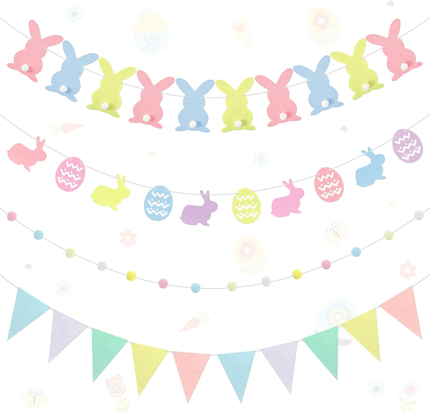 Pink Bunny Rabbit Bunting Bunny Bunny Banner Baby Shower Bunny Party Decoration Pink Rose Birthday