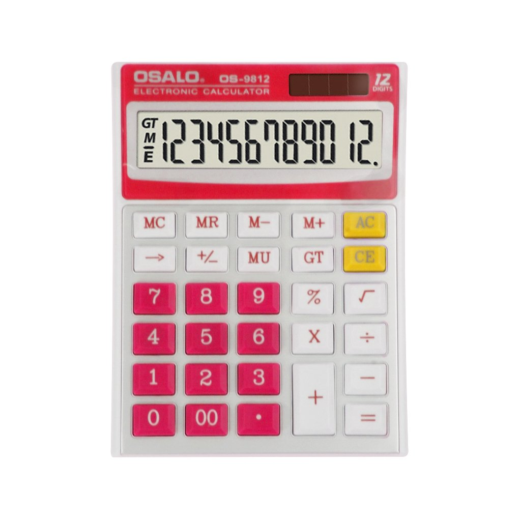 Portable Desktop Calculator Sola and AA Battery Dual Power Electronic Calculator 12 Digit Display Handheld Caculator with Large High-definition LCD Display for Office School
