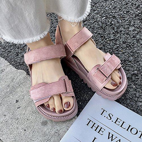 Sandalias De Estudiantes Simple Zapatos Verano Femenino Torta De Mujer Rosa Plana Pino Base Wild GAOLIM dvU8xw0d