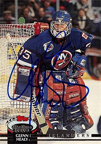 - Glenn Healy autographed Hockey Card (New York Islanders, SC) 1991 Topps Stadium Club #356 - Hockey Slabbed Autographed Cards
