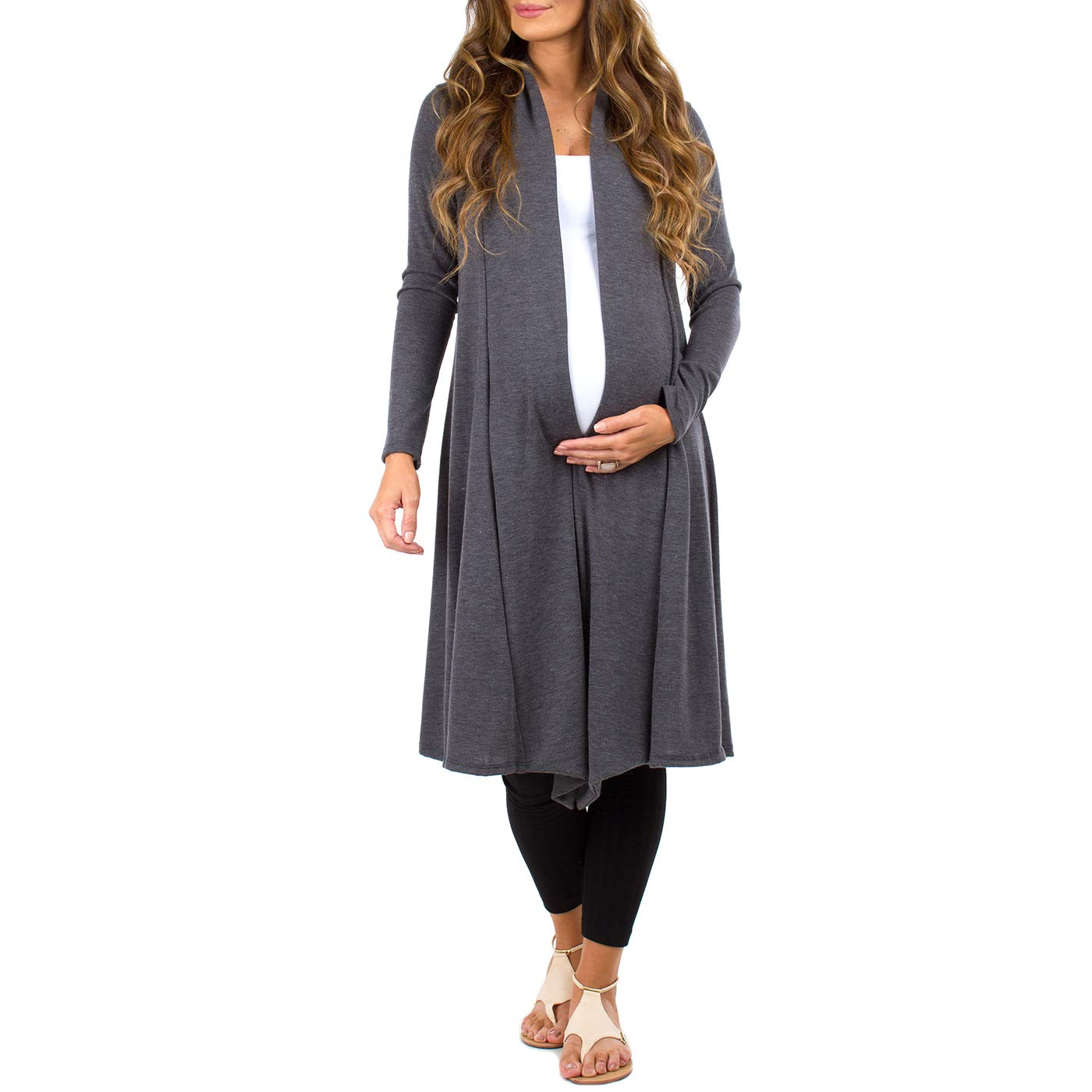Women's Long Draped Maternity and Nursing Cardigan by Rags and Couture- Made in USA