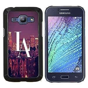 YiPhone /// Prima de resorte delgada de la cubierta del caso de Shell Armor - La ciudad de Los Ángeles Gran Rascacielos Panorama View - Samsung Galaxy J1 J100
