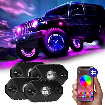 4WDKING RGB LED Rock Lights - 4 Pods Multicolor Rock Light Kit with Bluetooth Control, Timing, Music Mode for Underglow Jeep Off Road Car Truck Boat: Automotive