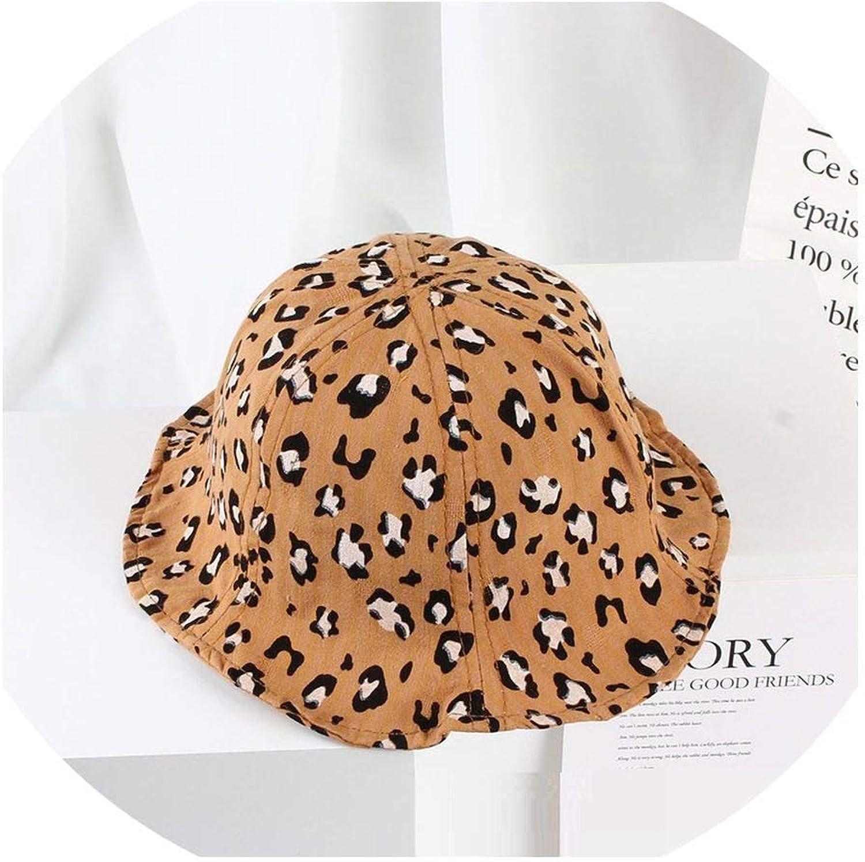 Spring Summer Sun Hat Leopard Print Cotton Kids Bucket Sun Cap