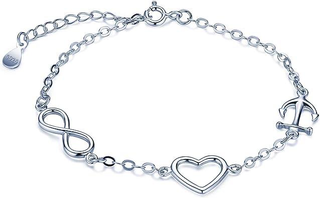 Pulsera de plata de ley 925, pulseras de corazón con símbolo de infinito y ancla, pulseras ajustables para mujeres y niñas, plata, regalo de cumpleaños de Navidad: Amazon.es: Joyería