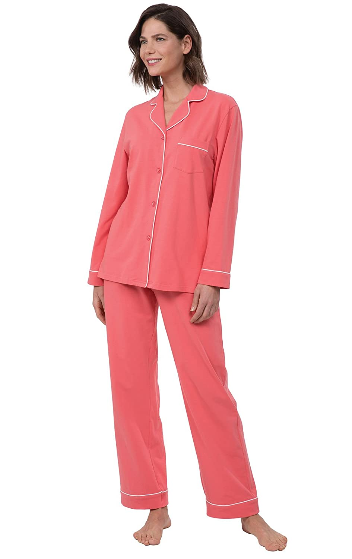 Coral PajamaGram Women's OhSoSoft Pin Dot Boyfriend Pajamas