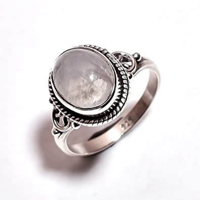 Ring 925 sterling silver rainbow moonstone x (MRI 76) fnRn0A36tc