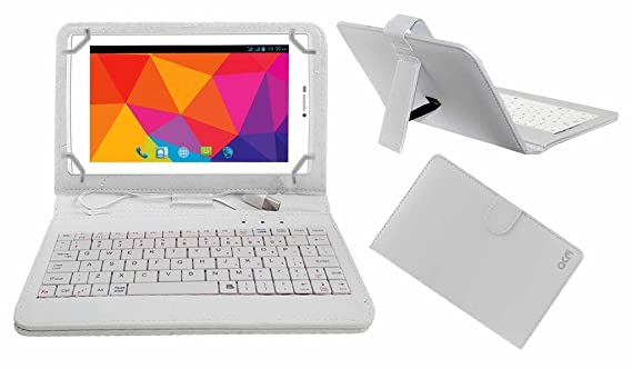 Acm USB Keyboard Case Compatible with Micromax Canvas P480 Tablet Cover Stand with Free Micro USB OTG   White Tablet Accessories