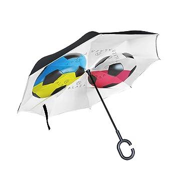 XiangHeFu - Paraguas invertido de Doble Capa, Balón de Fútbol Plegable, Resistente al Viento