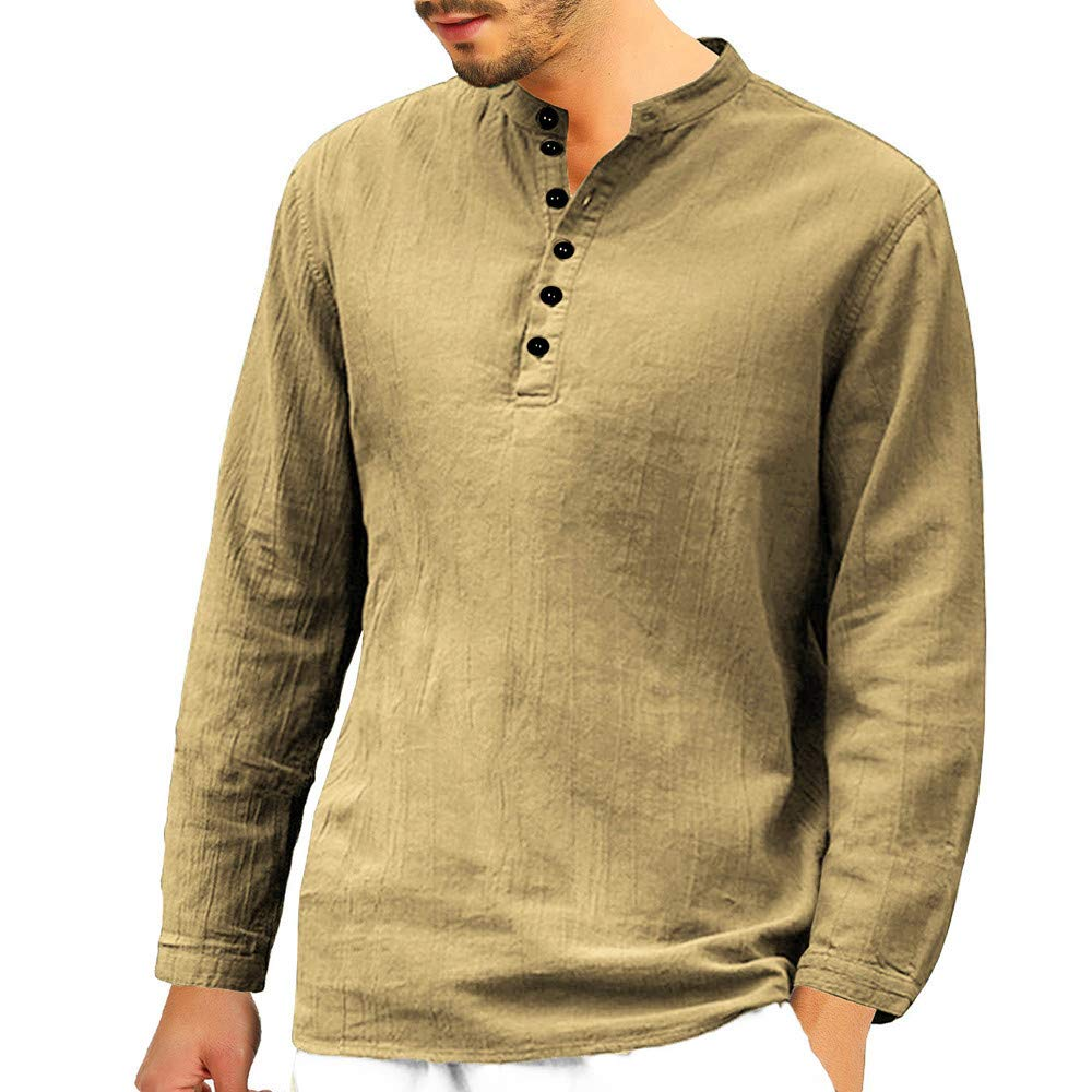 BaZhaHei Men's Baggy Cotton Linen Shirt Long Sleeve Button Tops Retro V Neck T Shirts Mens Party Tops Blouse