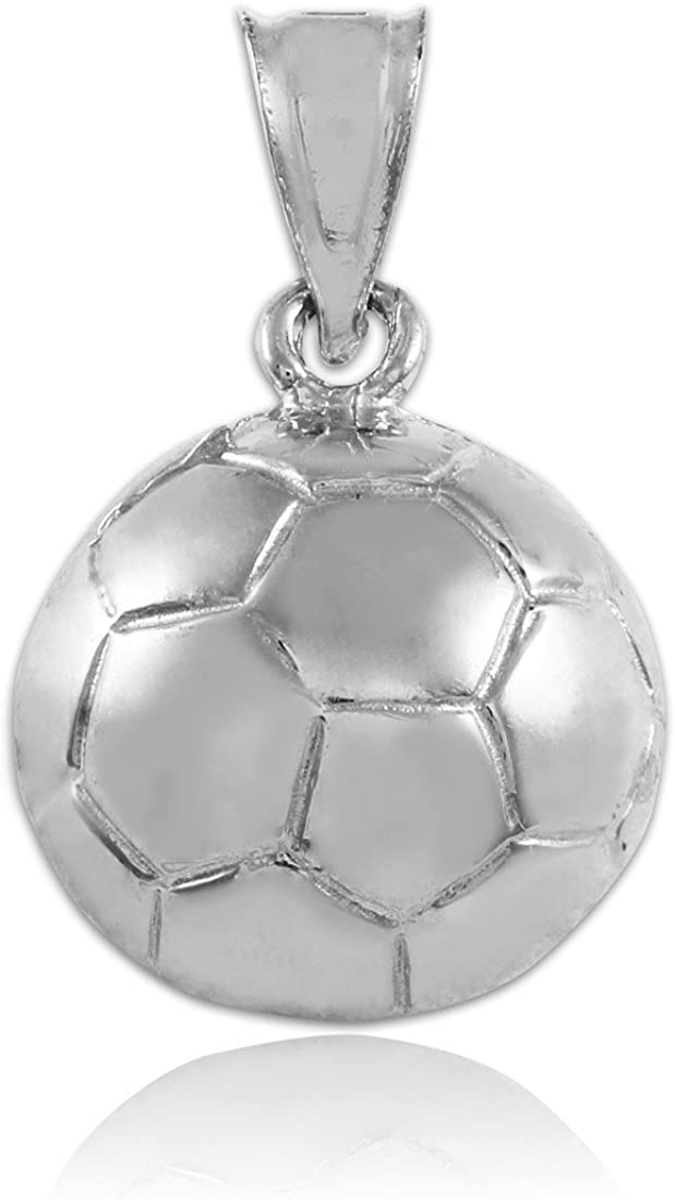 Sterling Silver Womens 1mm Box Chain 3D Soccer Ball Solid Pendant Necklace