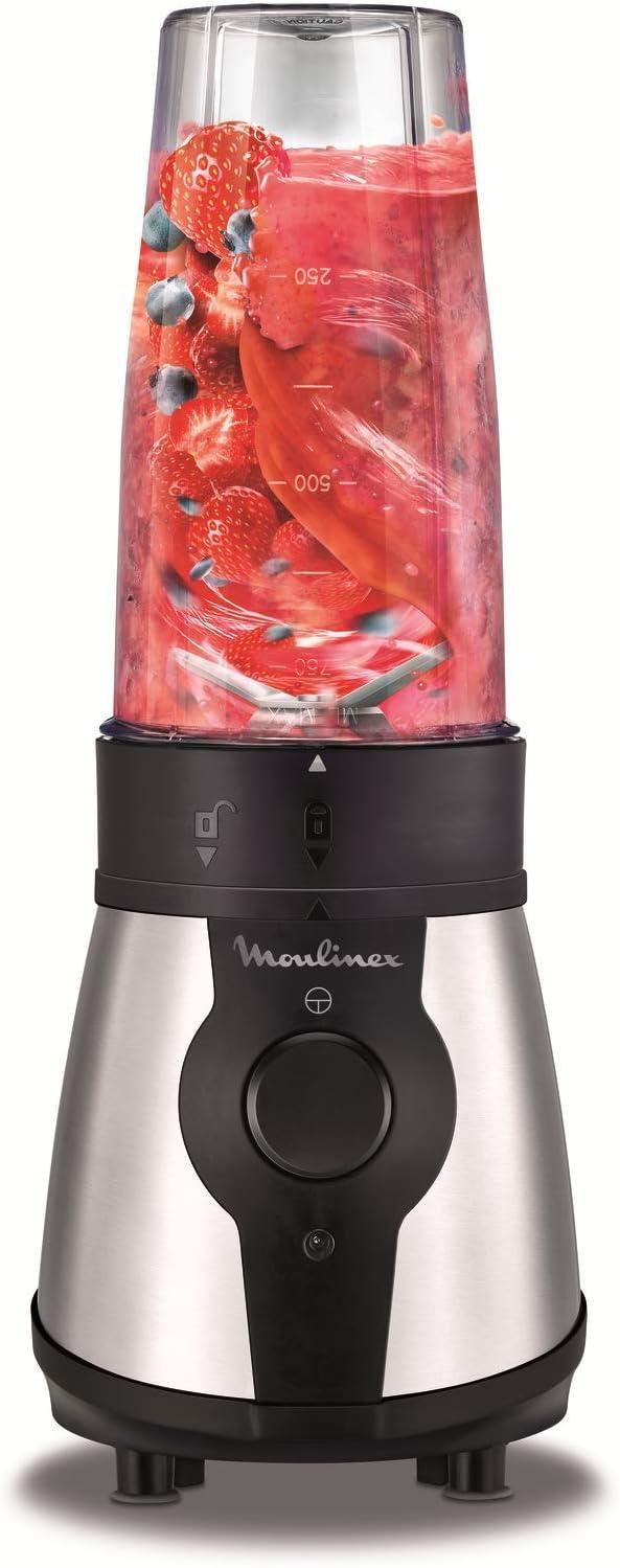 Moulinex Blend&Go LM1B1D10 Batidora de vaso de 300 W, incluye botella de 750 ml transportable, sistema de 4 cuchillas, acabados en acero inoxidable: Amazon.es: Hogar