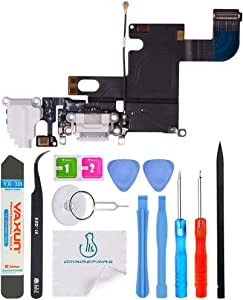 OmniRepairs USB Charging Dock Port Flex Cable with Microphone and Headphone Audio Jack Replacement Compatible for iPhone 6 Model (A1549, A1586, A1589) with Repair Toolkit (White)