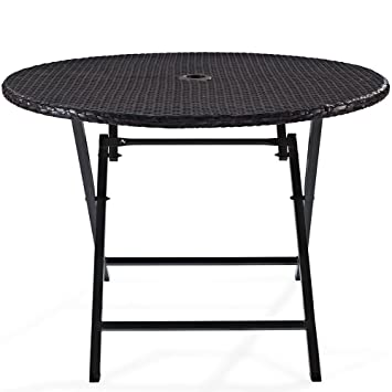 Crosley Furniture Palm Harbor Outdoor Wicker Folding Table   Brown