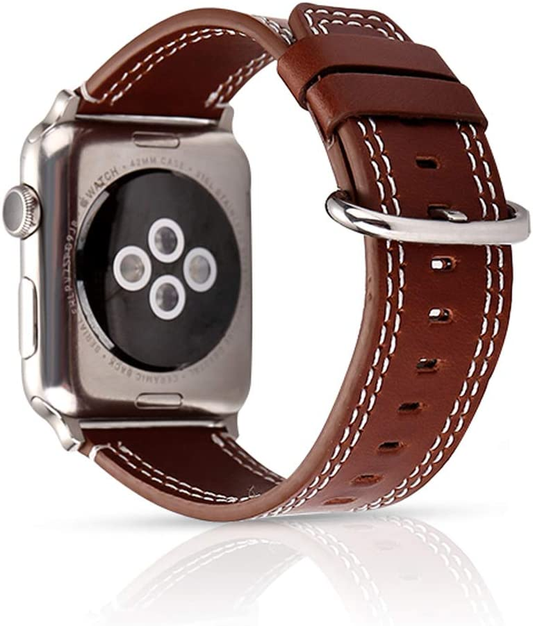 Band for Apple Watch Bands Lether 40mm 38mm, Comfortable Genuine Leather iwatch Strap Band for Men Women Apple iWatch Series 4 3 2 1 (Coffee Brown, 38mm/40mm)