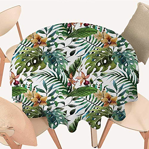 longbuyer Leaf Printed Tablecloth Vintage Retro 60s Seem Banana Palm Tree Leaves Flowers Hibiscus Round Tablecloth D 70