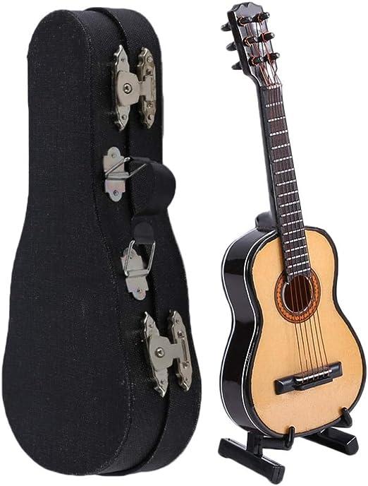 KWOSJYAL Mini Miniatura De Madera Esculturas Pequeñas Guitarra Acústica De Madera Instrumento Musical Colección para El Hogar con Estuche para El Hogar Hermosa Decoración: Amazon.es: Hogar