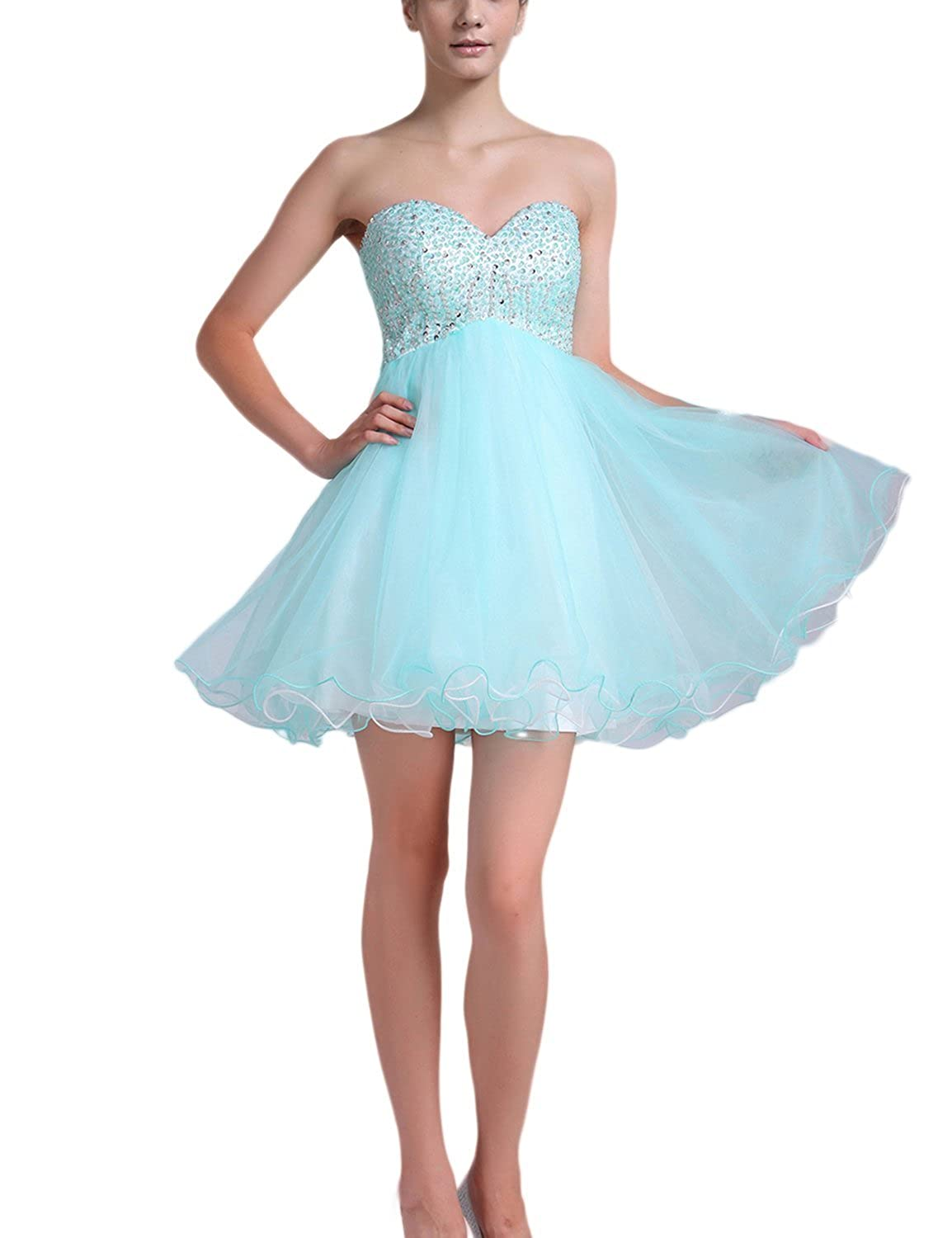 Fanciest Women's Beaded Short Homecoming Dresses 2016 Wedding Party Gowns Blue