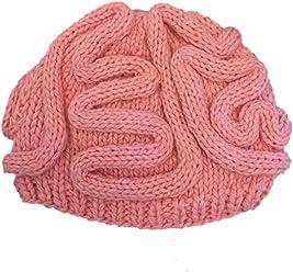 99d9c171a54 BIBITIME Unisex Handmade Knitted Brain Beanie Cap Halloween Hat