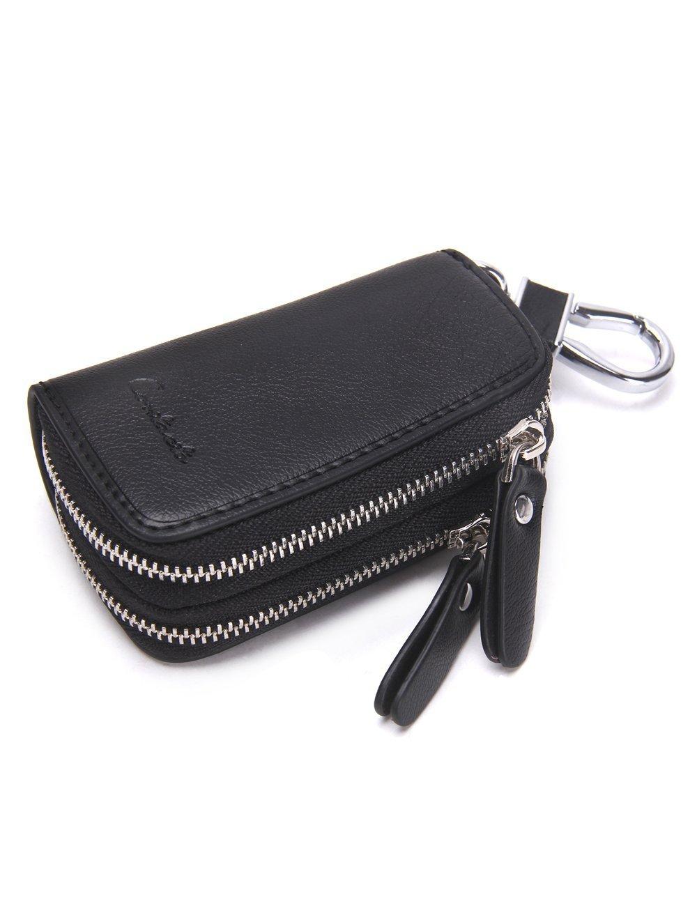 Noir HIRAM Porte-cl/é de Voiture en Cuir v/éritable Double Zipper Porte-cl/és Porte-Monnaie Porte-Monnaie