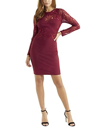 b78dba20a73c0b Lipsy Womens Applique Long Sleeve Bodycon Dress - Red -  Amazon.co.uk   Clothing