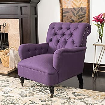 Renate Haven Linen Tufted Club Chair W/ Nail Head Accents (Purple)