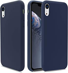 CellEver Silicone Case Compatible with iPhone XR Case, Liquid Guard Silicone Rubber Shockproof Case with Soft Microfiber Cushion Designed for iPhone XR 6.1 inch (2018) - Navy Blue