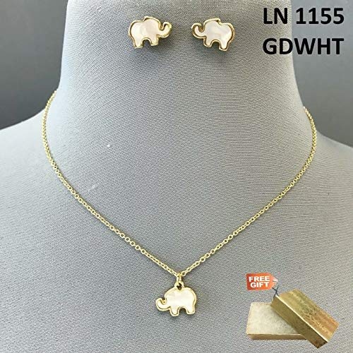 - Gold Finished Mother of Pearl Design Mini Elephant Pendant Necklace Earrings Set For Women + Gold Cotton Filled Gift Box for Free
