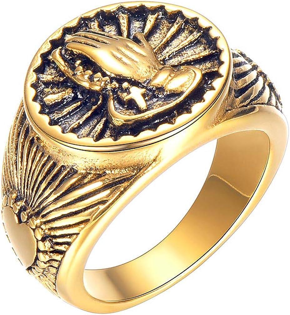FaithHeart - Mano de Oración/Ojo de Horus Anillo de Acero Inoxidable para Hombres y Mujeres Tallas 7-12/14.5-27 Joyería Religiosa para Dedos