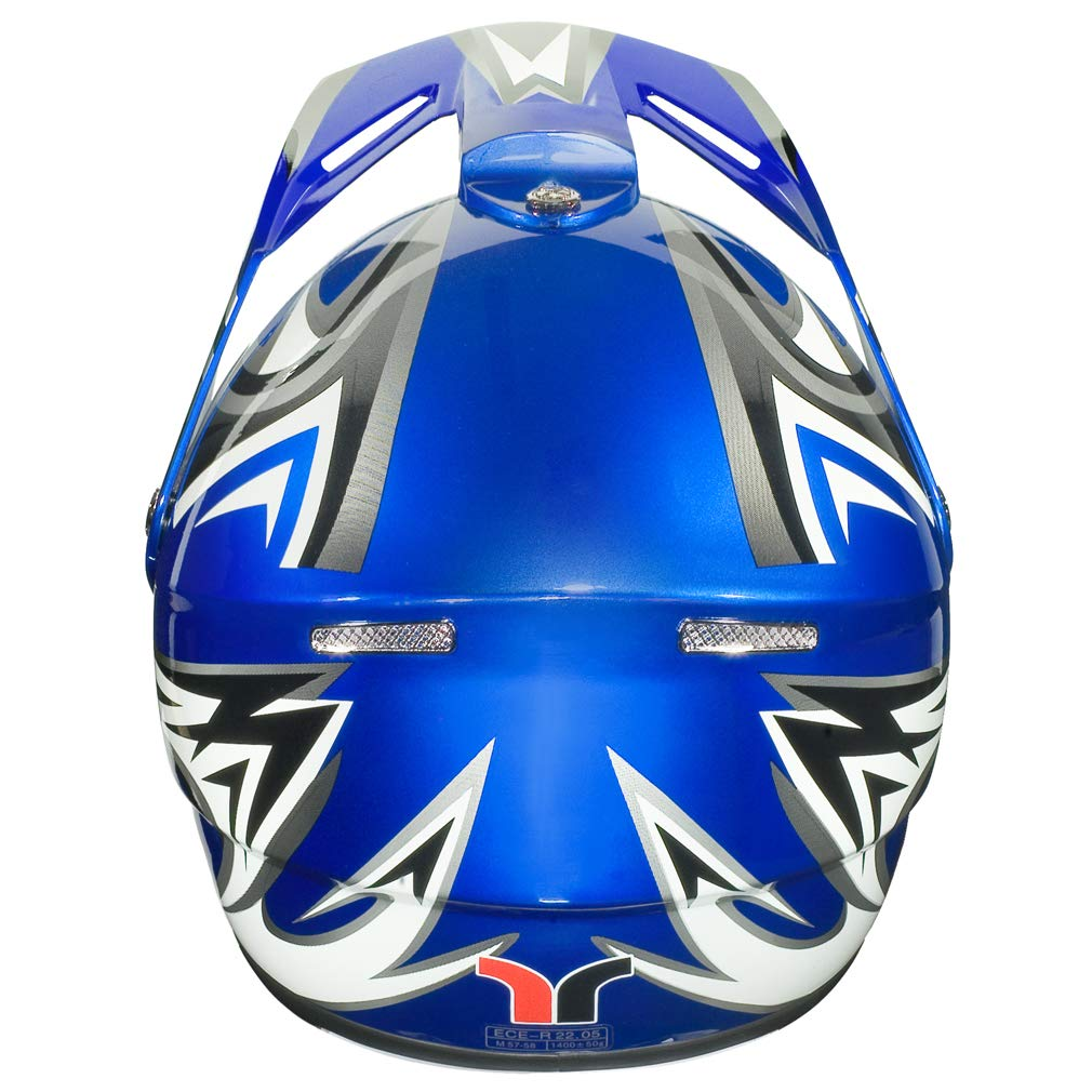 RX-962 Crosshelm Quad Cross Enduro Motocross Offroad Helm rueger Farbe:Blau V//RCK 61-62 Gr/ö/ße:XL