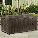 Beautiful Most Popular Top Seller Large Capacity 99-Gallon Weather Water Proof Indoor Outdoor Deck Pool Patio Laundry Linen Lightweight Portable Patio Storage Basket Bench Box Cont