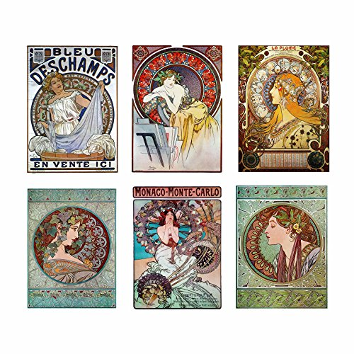 - Artdash Brand Premium Art Nouveau Reproductions ~ Set of 6 Easy-to-Frame 8