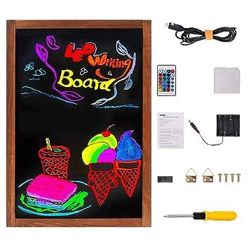 UNHO Pizarra LED Luminosa Tablero de Mensajes LED Tablero de Escritura y Dibujo Pizarra de Madera con Superficie de Vidrio 15 Colores y 4 Modo de Luz ...