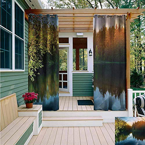 (Beihai1Sun Sliding Door Curtain,Landscape Sunshine Tranquil Scenery,Waterproof Patio Door Panel,W84x96L)