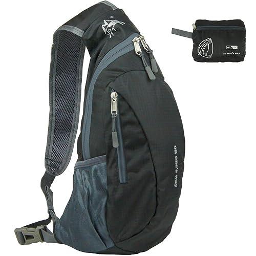 21c68e828f Foldable Travel Lightweight Shoulder Backpack Cross Body Packable Rucksack  Daypack Hiking Bag Men Women (Black