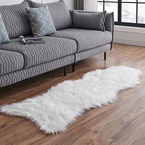 LEEVAN Sheepskin Rug Faux Fur Rug Super Soft Fluffy Chair Cover Seat Cover Shaggy Floor Mat Carpet (2' x 6', White)