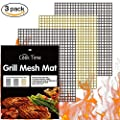 BBQ Grill Mesh Mat Set of 3 Non Stick BBQ Cooking Mat Teflon Grilling Sheet Liner Nonstick Fish Vegetable Smoker Grill Mats - Works on Gas, Charcoal, Electric Barbecue 15.75x13inch(2 black+1 Copper) …