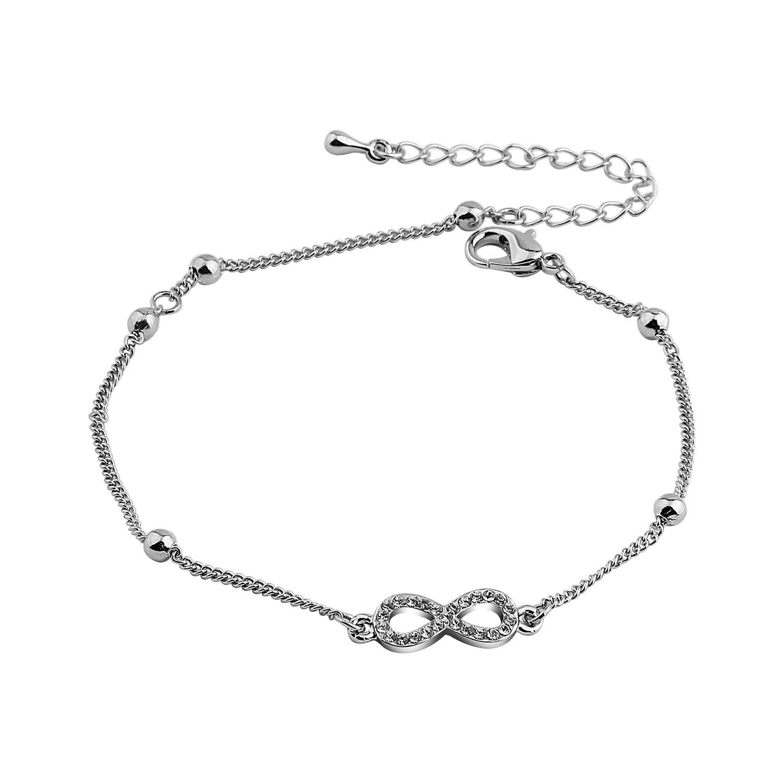 WUSUANED Elegant 8 Infinity Endless Love Symbol Charm Adjustable Anklet Bracelet For Women Girls (infinity anklet)