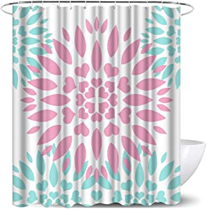 Dahlia Dahlia Pinnata Shower Curtain Pink Turquoise Dahlia Flower Print Decorative Floral Pattern Fabric Bathroom Curtains with Hooks for Bathroom Decor 72x72 Inches Polyester Machine Washable