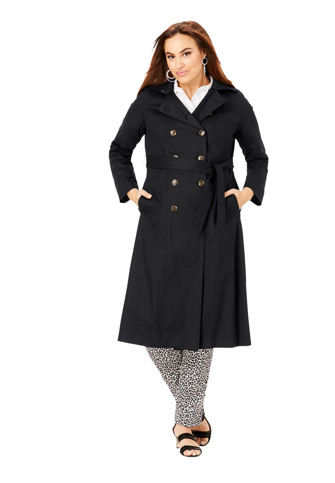 Jessica London Women's Plus Size Double Breasted Long Trench Coat