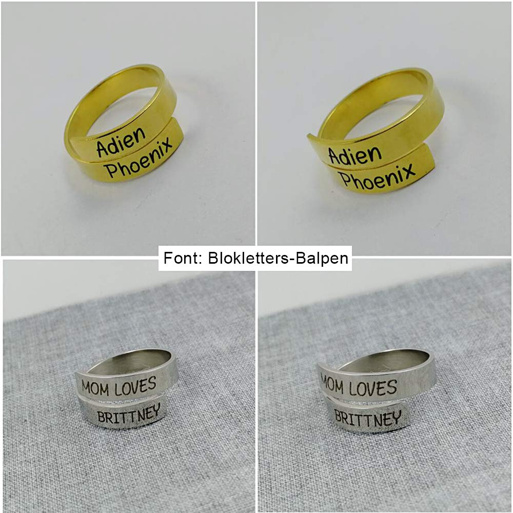 Love Jewelry Personalized Spiral Twist Ring Engraved Names BFF Personalized Gift Mother-Daughter Promise Ring Her (Gold) by Love Jewelry (Image #6)