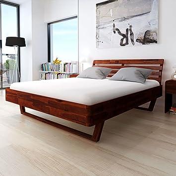 Schön Festnight Holzbett Doppelbett Bett Bettgestell Gästebett Aus Akazienholz  Ohne Matratze 180 X 200 Cm