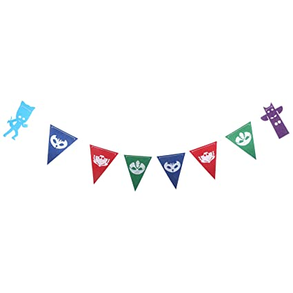 Ceeco Triangle Cartoon Kids Theme Party Banners Decorations PJ Masks banners Colorful Party Supplies Bunting For