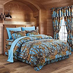 The Woods Powder Blue Camouflage Twin 5pc Premium Luxury Comforter, Sheet, Pillowcases, and Bed Skirt Set by Regal Comfort Camo Bedding Set For Hunters Cabin or Rustic Lodge Teens Boys and Girls