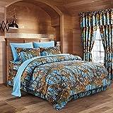The Woods Powder Blue Camouflage Twin 5pc Premium Luxury Comforter, Sheet, ...