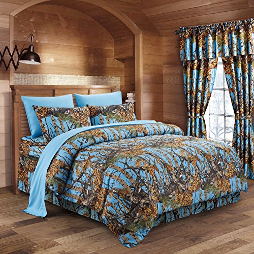 Regal Comfort The Woods Powder Blue Camouflage Queen 8pc Premium Luxury Comforter, Sheet, Pillowcases, and Bed Skirt Set Camo Bedding Set for Hunters Cabin or Rustic Lodge Teens Boys and ()