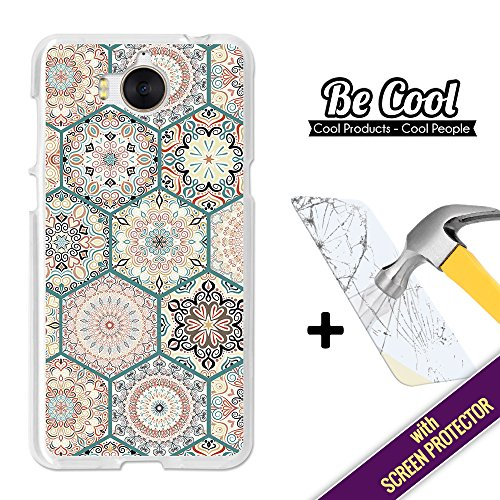 Becool- Cover Gel Flexible Huawei Y5 2017, [+1 Tempered Glass Screen Protector ], TPU Case made out of Silicone, protects to your Smartphone, with our exclusive designs. Rose windows mosaic.