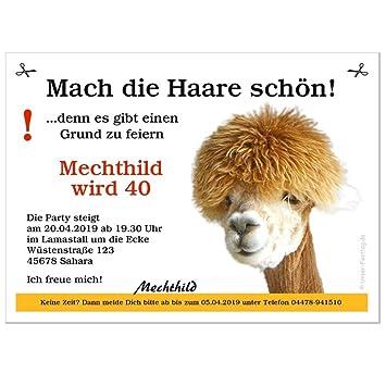 Schön Geburtstagseinladungen Motiv Lama Mit Schönen Haaren   Personalisiert, 10  Karten   17 X 12 Cm