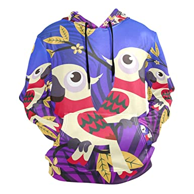 ed3dbc017d33 Amazon.com  Cartoon Parrot Bird Hoodie Hooded Athletic Sweatshirts ...
