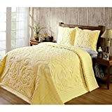 1 Piece Yellow Oversized Chenille Bedspread King, Medallion Pattern Oversize To The Floor Extra Long Bedding, Wide Drapes Over Edge Drops Down Shabby Chic French Country Damask, Cotton
